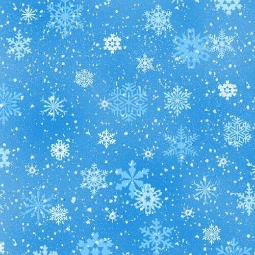 Elizabeth Studios Landscape Medley 532 Blue Snowflakes BTY Cotton Fabric