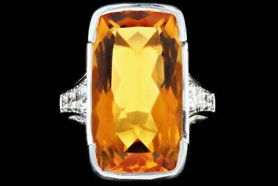 Mandarine Citrine White Cz 925 Fine Silver Solitaire With Accents Women Ring