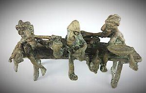 Rare-statuette-ancienne-en-bronze-Burkina-Fasso-Scene-de-beuverie