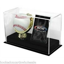 1 BCW Brand Gold Glove Baseball Ball & Card Holder UV Safe Display Case