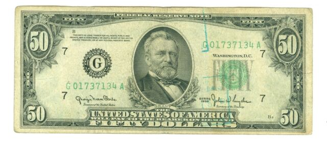 1950 $50 Chicago Federal Reserve Note MULE With 1934 Micro Back