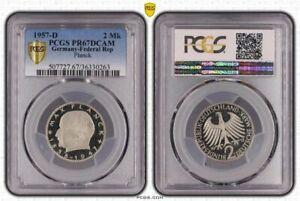 2DM Moneda de Curso Máximo Planck 1957 D Pp PCGS PR67DCAM