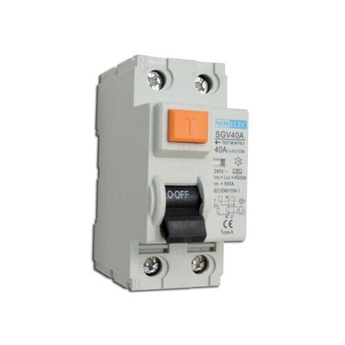 Interrupteur différentiel 40A 2P 30mA type A borne vis norme NF RCCB NOVELEC SGV