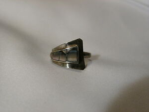 ...Vintage Alpaca Silver Tone,Abalone Bypass Ring...