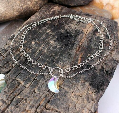 Womens Moon Crystal Chain Multi Layer Choker Fashion Necklace Gothic
