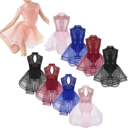 Girls Shiny Sequin Skating Ballet Jazz Dance Dress Sleeveless Performing Costume