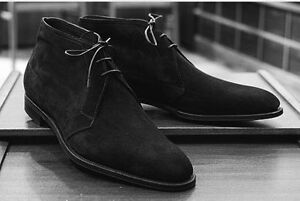 3e7bb2ad26c Details about Handmade men black Chukka boots Men black ankle casual boots,  Black boot for men