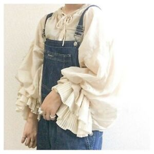 Lady-Girl-Lolita-Shirt-Ruffle-Puff-Sleeve-Top-Retro-Blouse-Japanese-Pleated-Cute