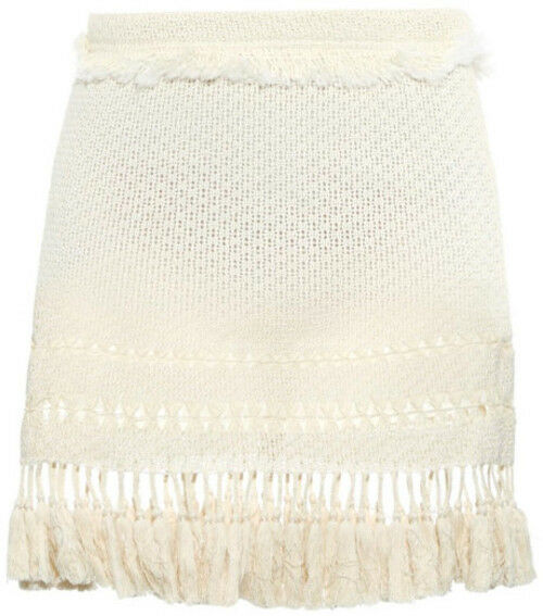 Isabel Marant Beige Tifen Fringed Mini Skirt