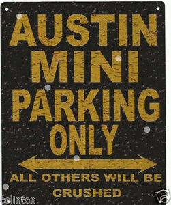 AUSTIN MINI PARKING SIGN RETRO VINTAGE STYLE 6x8in 20x15cm garage workshop art