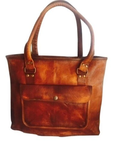 """16/"""" Women Vintage Looking Genuine Brown Leather Tote Shoulder Bag Handmade Purse"""