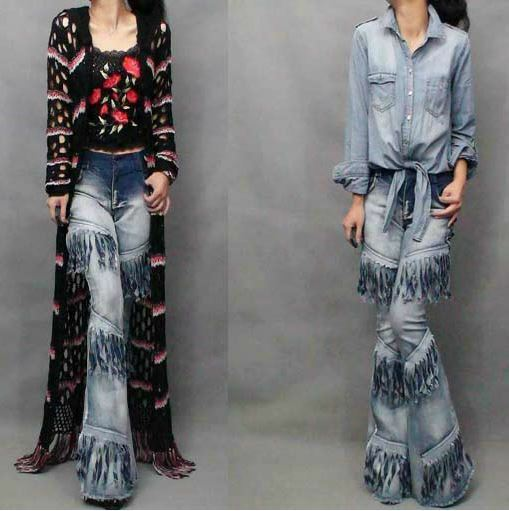 Fashion Womens Stretch Pants Motorcycle Tassel Cowboy Bell-bottom Trousers Jeans