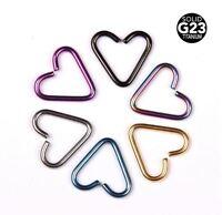 16g Titanium Heart Seamless Ring Cartilage Tragus G23 Body Jewelry Ear Piercing