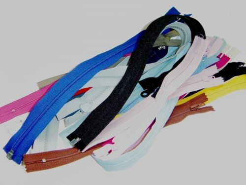 """Zippers from 4/"""" to 20/"""" Multi Colors Closed end /& Separating Bottom #ZZ 35"""