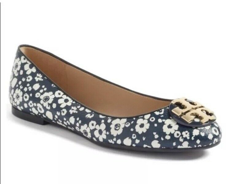 negozio d'offerta Tory Burch Claire Leather Ballerina Flats scarpe Tory Navy Navy Navy New Ivory 8 M  Sconto del 60%