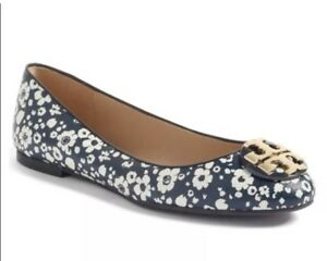 0d10ae09c Tory Burch Claire Leather Ballerina Flats Shoes Tory Navy New Ivory ...