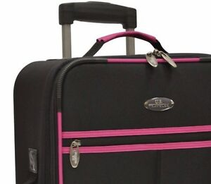Luggage-U-S-Traveler-Fashion-Wheels-Handle-Black-Pink-New