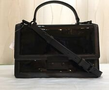 MICHAEL KORS MK callie black patent-leather medium messenger crossbody new $298
