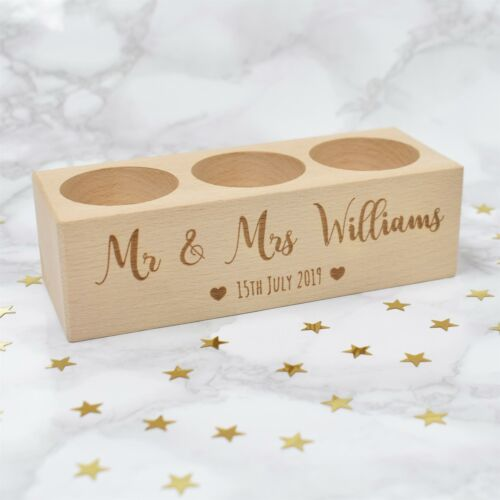Personalised Tea Light MR /& MRS Wooden Candle Holder Wedding or Anniversary Gift