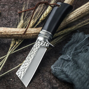 DAMASCUS VG-10 FIXED BLADE EBONY HANDLE MIRROR HUNTING COLLECTION STRAIGHT KNIFE