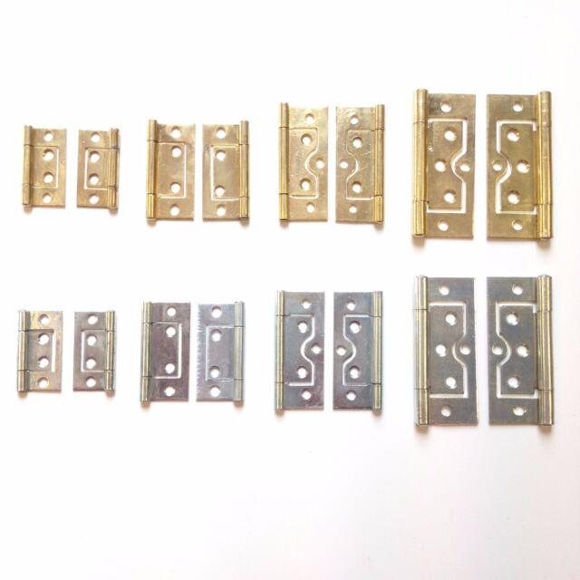 Flush Door Hinges -Cupboard, Wardrobe, Cabinet, Louvre Doors-Brassed/Silver  Zinc