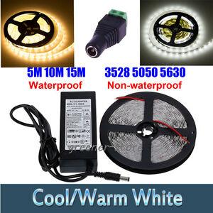 Tira-Luz-5M-10M-15M-LED-5050-3528-5630-SMD-Impermeable-Flexible-12V-Adaptador