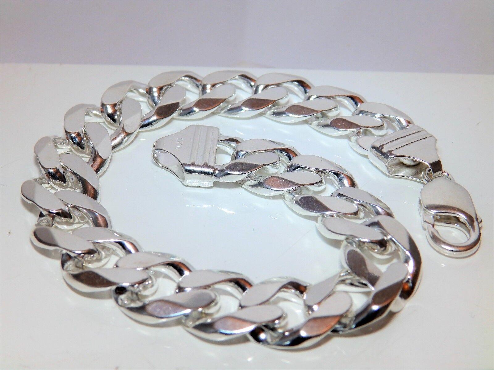 Gents 59.8g (2oz) argentoO 9 1 2    lunghi 13 mm di larghezza Cordolo LINK Braccialetto f96524