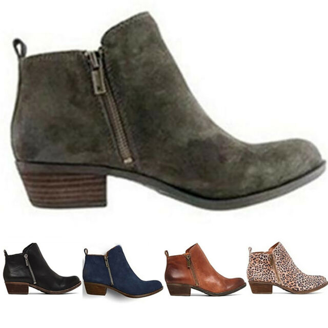 51ad9be5646 Womens Booties Low Heels Ankle Boots Ladies Round Toe Zip Up Slip On Shoes  Size