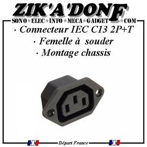 Connecteur-panneau-chassis-Femelle-2-Poles-Terre-IEC60320-C13-secteur-220V-15A