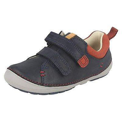 BOYS CLARKS SOFTLY TOBY BROWN LEATHER SHOES