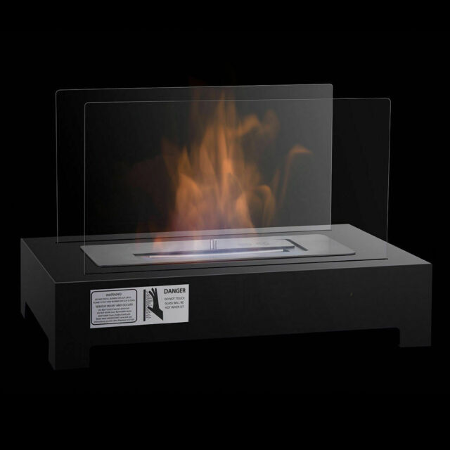 Bioethanol Fireplace Stove Fireplace Freestanding Tempered Glass Stainless Steel