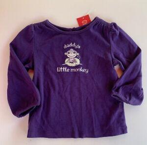 Gymboree-Girls-Shirt-Size-18-24-Months-Dance-Team-Daddys-Little-Monkey-Purple