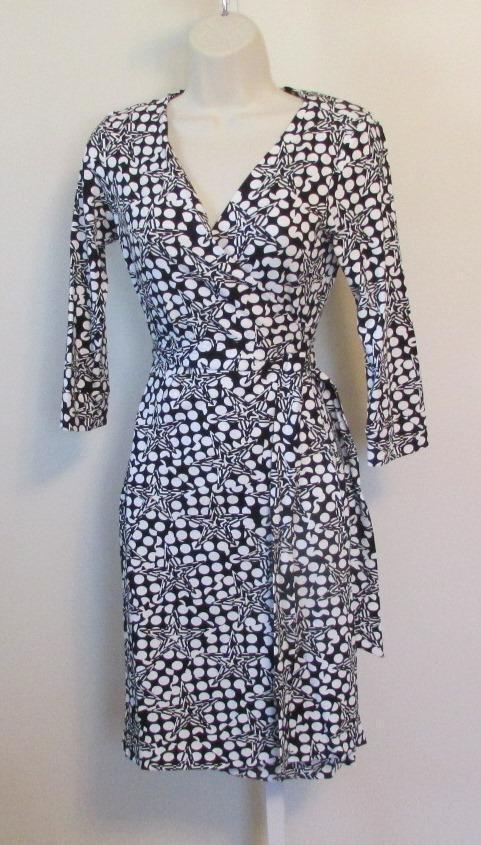 Diane von Furstenberg New Julian two Polka Star schwarz wrap dress 12 Weiß small