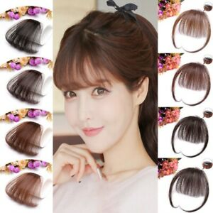 Fashion-Ladies-Thin-Neat-Air-Bangs-Clip-Hair-Wigs-Hairpiece-Light-Brown