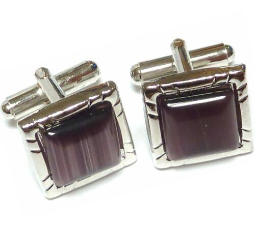 Cufflinks lot tuxedo purple amethyst cat eye silver ton