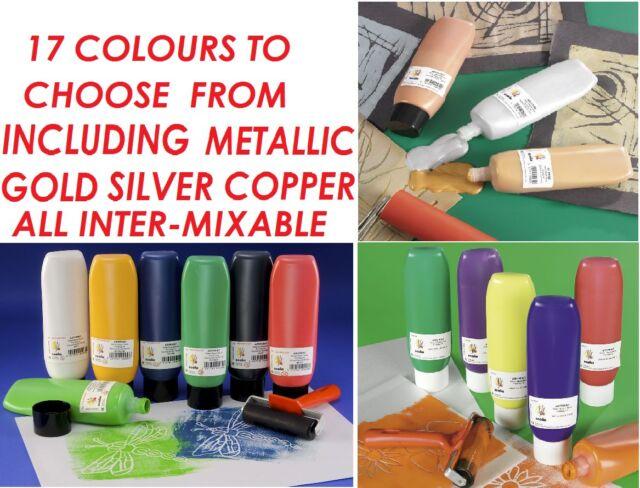 SCOLA ARTPRINT 300ml BOTTLES LINO BLOCK PRINTING ROLLER MIXABLE INKS & PAINTS