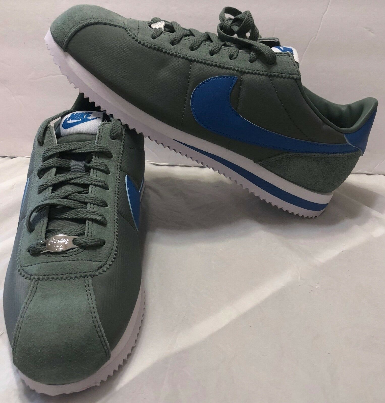 Nike Cortez Men Sz 9 Nylon Clay Green bluee Nebula-White 819720 300 Low Classic