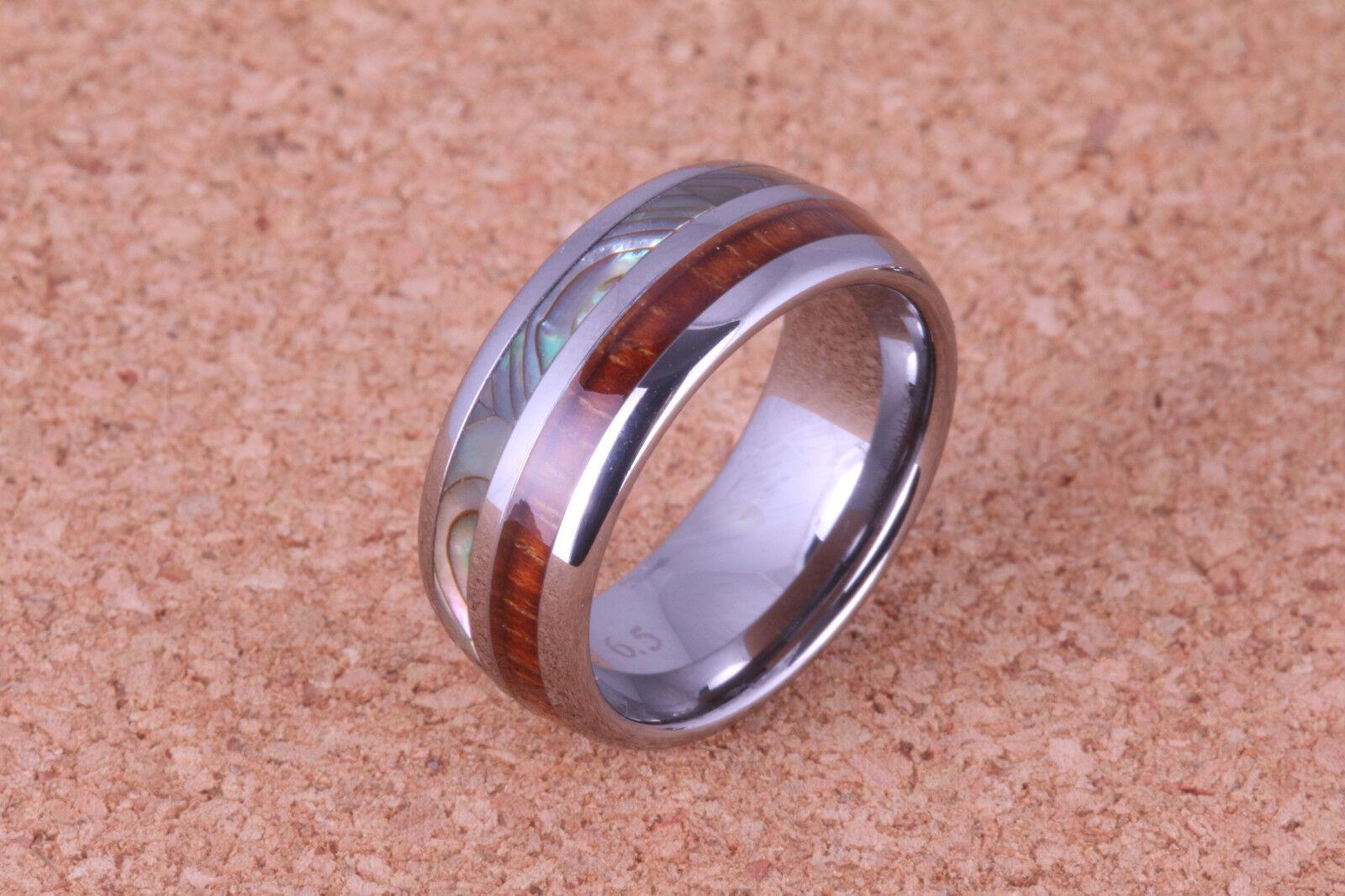 Koa wood abalone shell inlay Ring 8mm Width