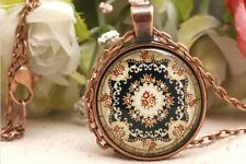 Antique Copper Pendant,Halloween Jewelry Necklace Weird Totem Glass Necklace