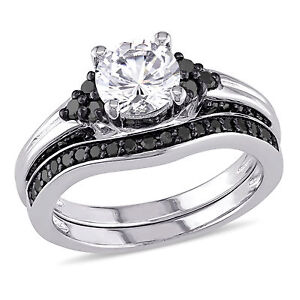 Sterling-Silver-White-Sapphire-and-3-5-Ct-TDW-Black-Diamond-Bridal-Ring-Set