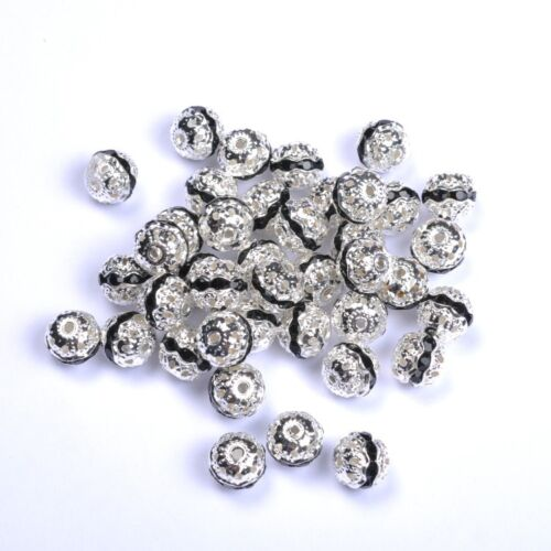 10pcs Quality Czech Crystal SILVER PLATED Charms Spacer BEADS Choose 6-10MM