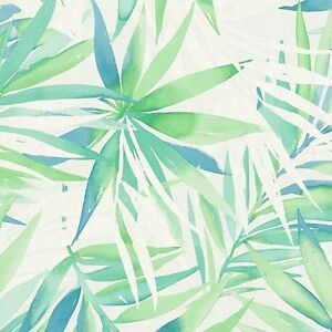 details about green blue white palm leaves tropical wallpaper 10m made in germany
