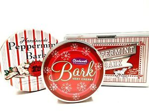Three Assorted Peppermint & Cherry Bark Collectible Tins Christmas Holiday Boxes
