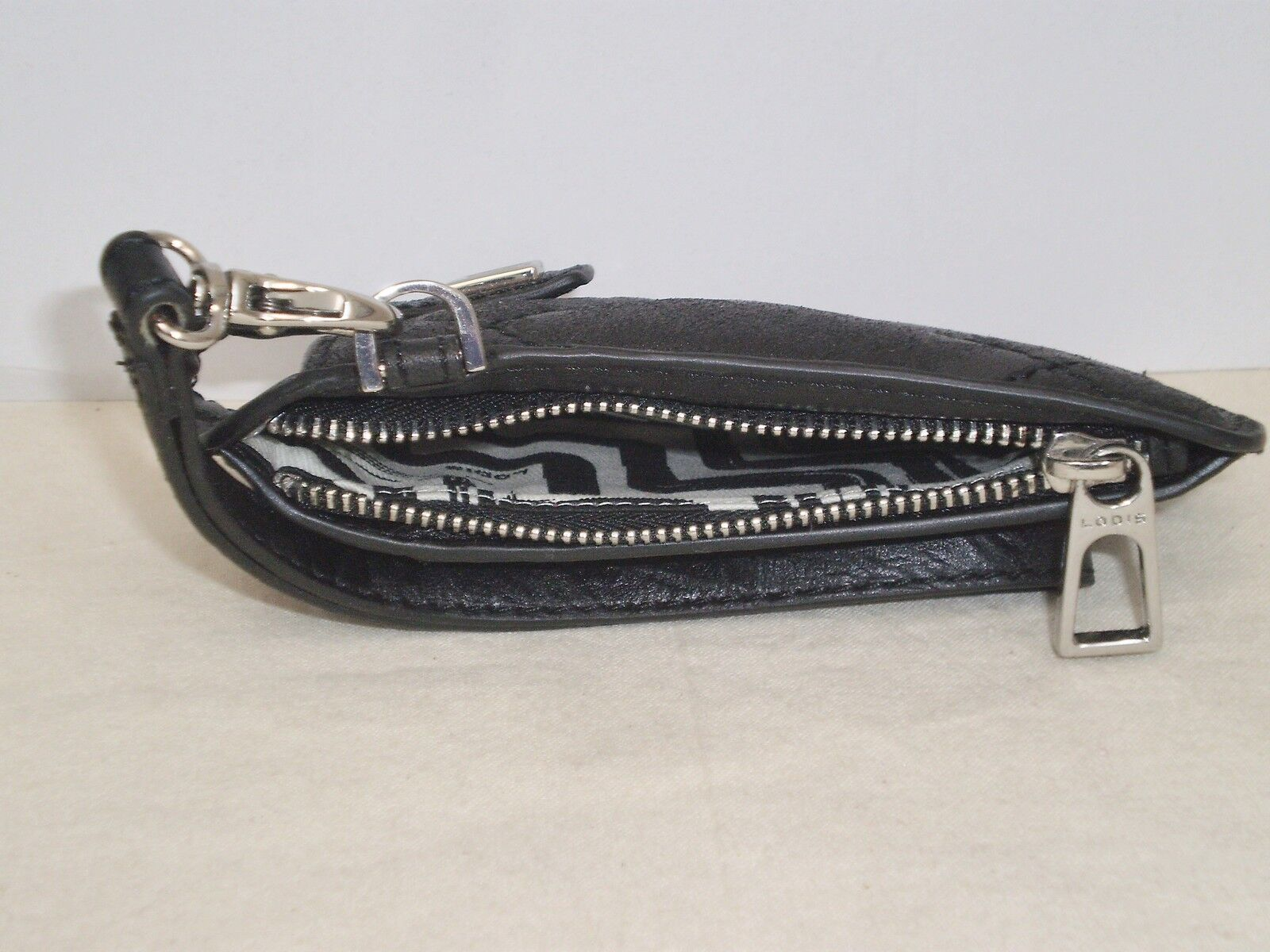 LODIS ABBOT KINNEY Cell Phone WALLET Wristlet Black Quilted Leather NWOT