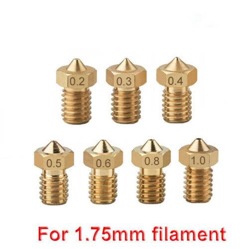 9pcs//set 1.75mm Filament Extruder Nozzle M6 Threaded Nozzle for V6 J-Head/&MK8