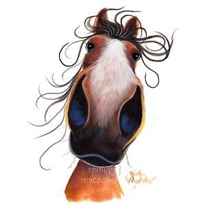 Pferd-Drucke-Pferd-Leinwand-Kunst-ORIGINAL-Gemaelde-Flash-von-Shirley-MacArthur