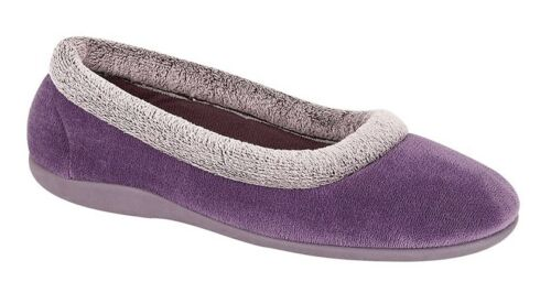 Memory Foam SLEEPERS Ladies Velour Collar Warm Comfort Slippers Colour Choice