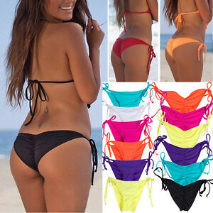 d90ded39e3c0a Image is loading Brazilian-Women-Girl-Bikini-Bottom-Scrunched-Ruched-Side-