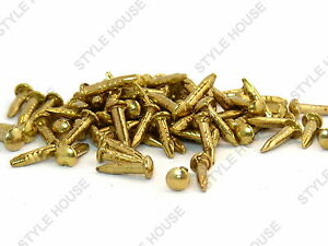 6mm GOLD FINISH ROUND HEAD SMALL NAILS PINS DOLL HOUSE REPAIR WOOD CRAFT DIY
