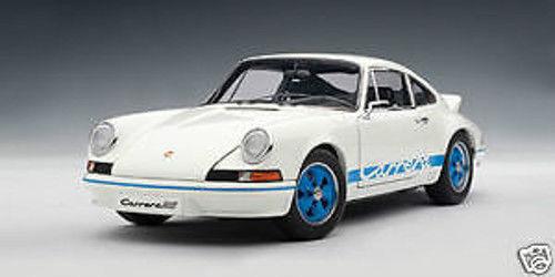 Dans l'attente de la ville, retenant votre souffle 1/18 1/18 1/18 Autoart 1973 PORSCHE 911 CARRERA RS 2.7 blanc/bleu | à L'aise  22f14b